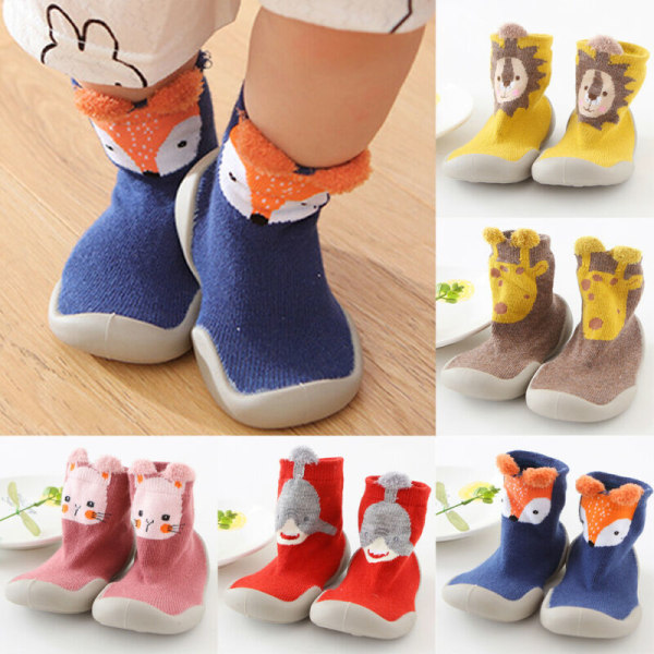 Baby Kids Girl Boy Animal Printed Training Middle Soft Socks Pink Cat 20/21