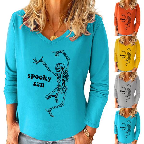 Kvinnor V-hals Dansskalleutskrift Halloween Långärmade toppar Blue 2XL
