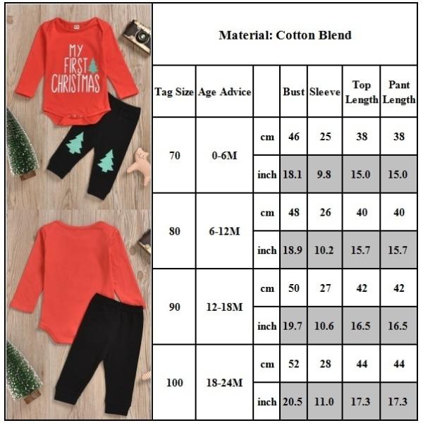 2PC Set Baby Boys Girls Söta kläder red 90cm