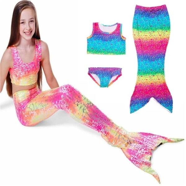 3 ST Nya barnflickor sjöjungfru bikini yellow 130 cm