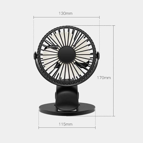 USB 360 ° roterande luftkylare Clip Table Mini Fan Air Cooler black