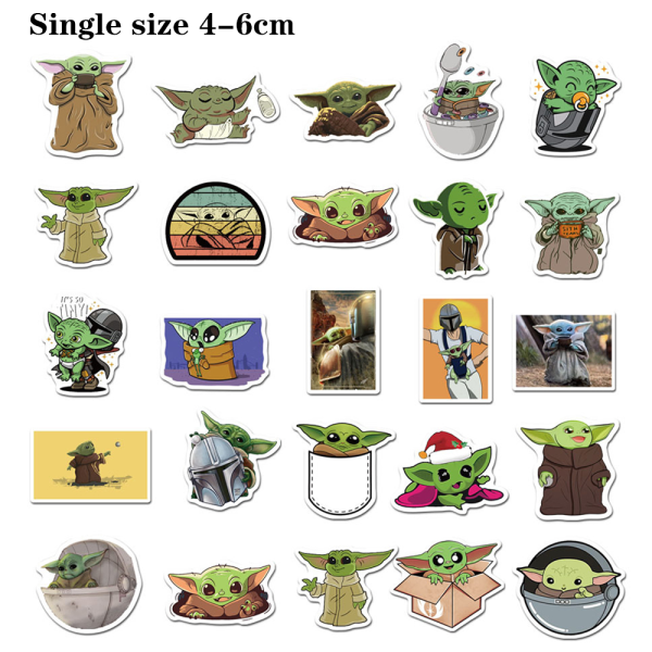 50st Star Wars Cartoon Baby Yoda Sticker / Klistermärken Toy