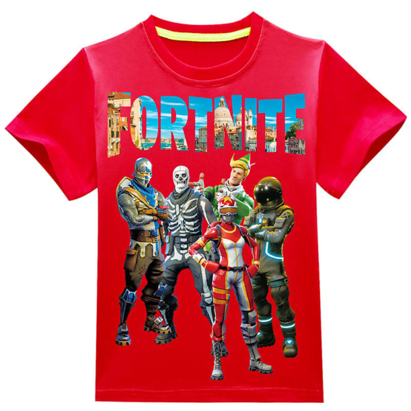 Kid Fortnite Print kortärmad tecknad sommar casual T-shirt red 140cm