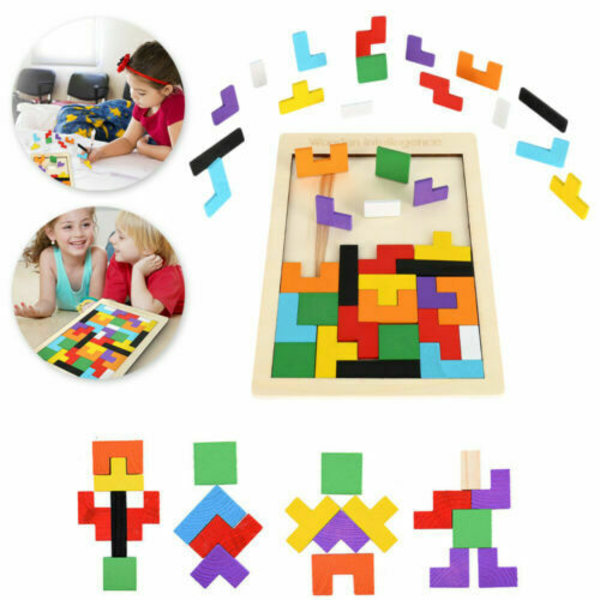 Träleksaker Pussel Spel Pedagogiska barn Fuuny leksaker