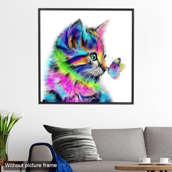 5D DIY färgglada kattdiamantmålningssatser Arts hemrumsdekor