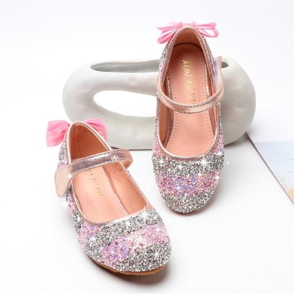Barnflickor Sequin Bling Princess Vintage Party Crystal Shoes Pink 26