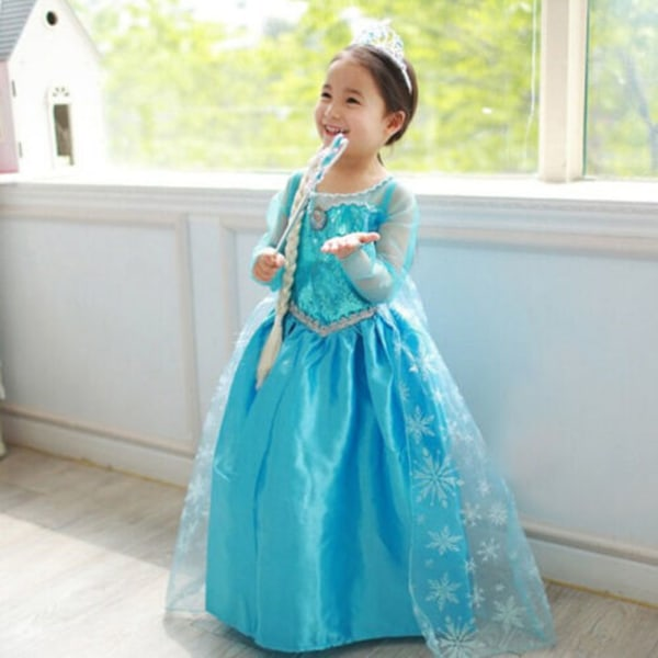 Kid Elsa Girls långärmad prinsessa kappa kostym Cosplay Party D 100cm