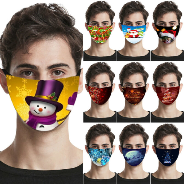 6Pcs/Set Christmas Snowman Face Cover Festive Mouth Protection 10 - 6Pcs