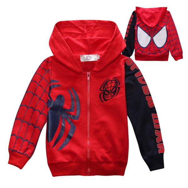 Barnpojkar Spiderman Hoodiejacka med dragkedja Red&4 120 cm