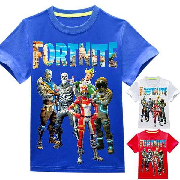 Kid Fortnite Print kortärmad tecknad sommar casual T-shirt white 130cm