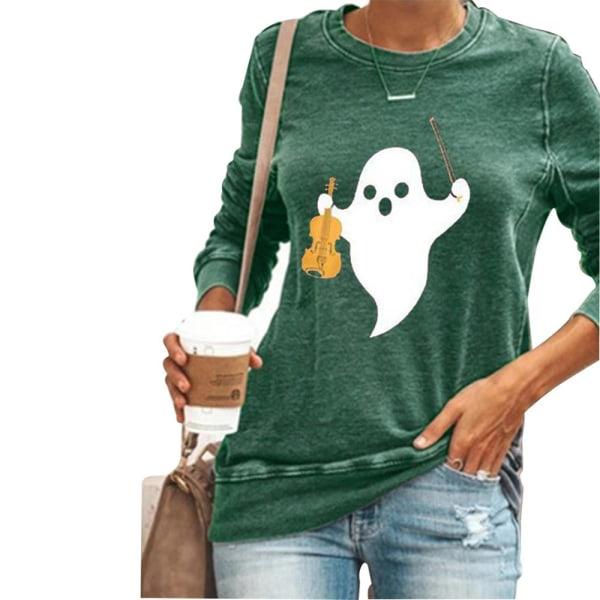 Dam långärmad hösttopp Halloween-tryckt T-shirt rund hals Green XL