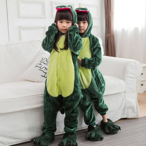 Animal Pyjama Kids Adult Cute Cartoon Hooded Cosplay Nightwear Green dinosaur 115cm