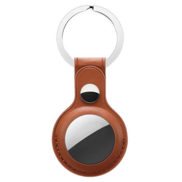 Apple AirTag läderfodral täcker nyckelring ärmskal Brown