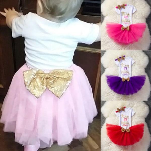 Baby Girl 1st födelsedagsklänning Tutu kjol huvudband Outfit söt uppsättning pink 1Y