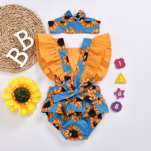 Baby Girls Ruffle Romper Headband Set One-Piece Outfit Clothes Leopard 12-18 Months