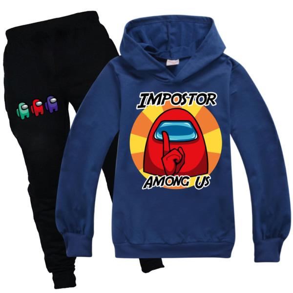 Baby Kids Pojkar Unisex Bland oss Tröja Suit Hoodies Långärmad navy blue 170cm