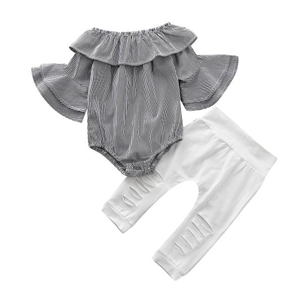 Baby Kids Girls Flared Long Sleeve Top Long Pants Byxor Set 18-24M