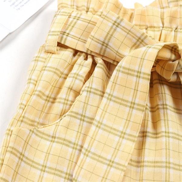 Barn Flickor Höjd Midja Byxor Knut rutig Byxor Casual Byxor Yellow 6-7 Years