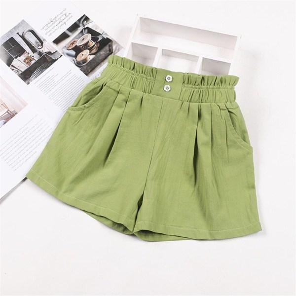 Barn Flickor Sommar Casual Byxor Solid Shorts Holiday Hot Byxor Green 11-12 Years