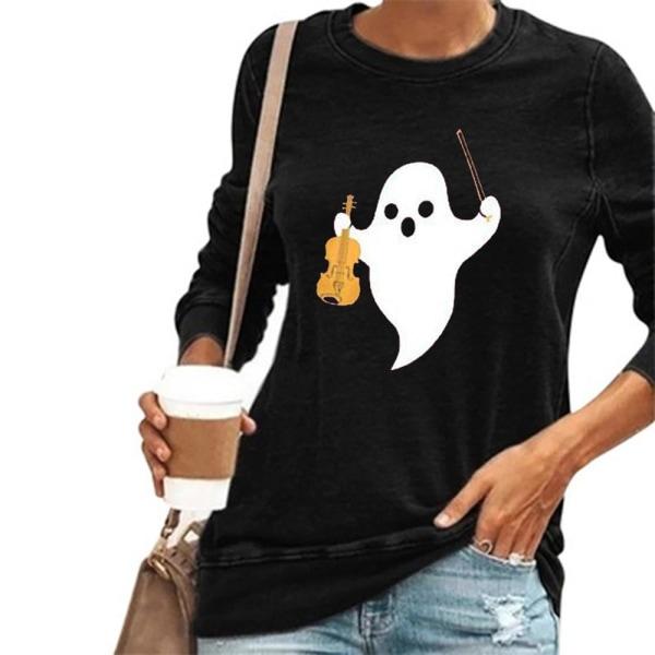 Dam långärmad hösttopp Halloween-tryckt T-shirt rund hals Black 2XL