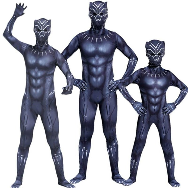 Black Panther Kid Cosplay Party Dräkt Superhero Fancy Dress Up 5-6 Years