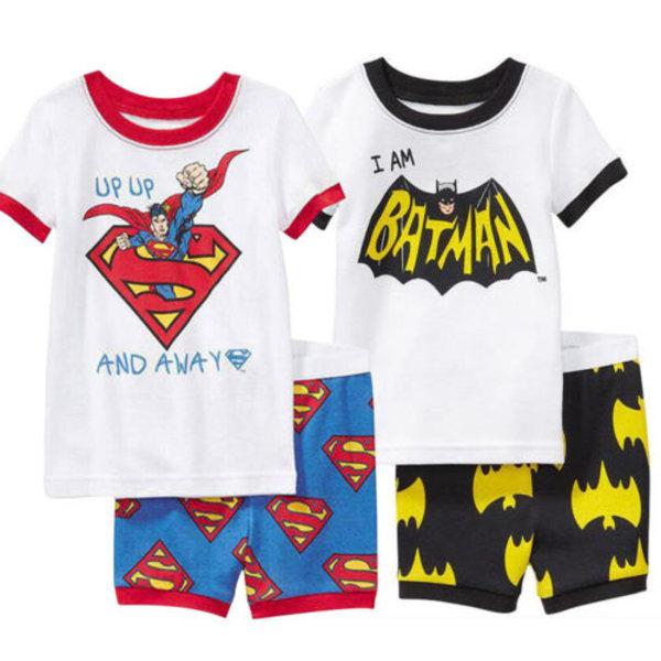 Boy Kids Batman Spiderman kortärmad T-shirt + kort nattkläder Superman 90cm