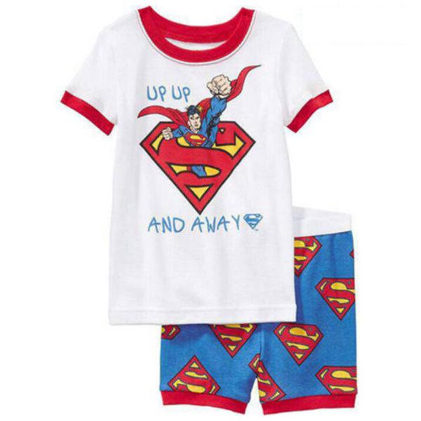 Boy Kids Batman Spiderman kortärmad T-shirt + kort nattkläder Superman 95cm