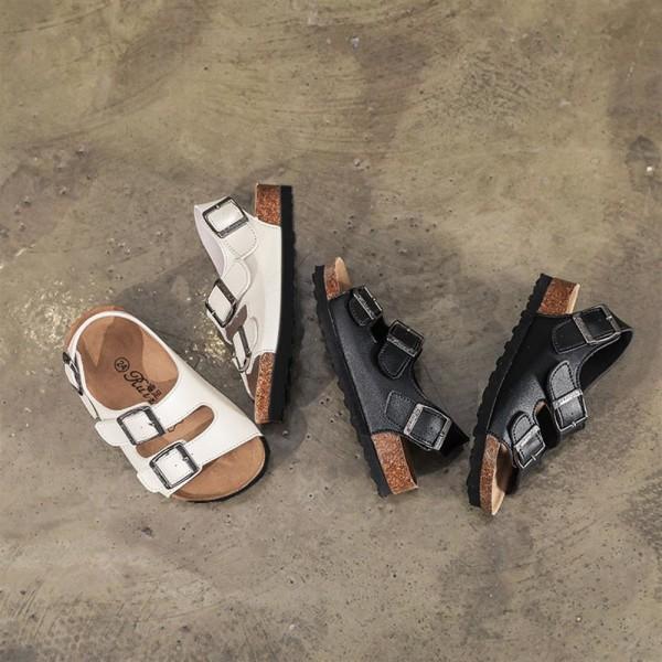 Pojkar Flickor Sommar Slip Sandaler Barn Casual Open Toe Tofflor Black 25