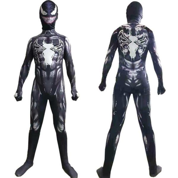 Pojkar Barn Venom Svart Superhjälte Halloween Cosplay Kostym 7-8 Years