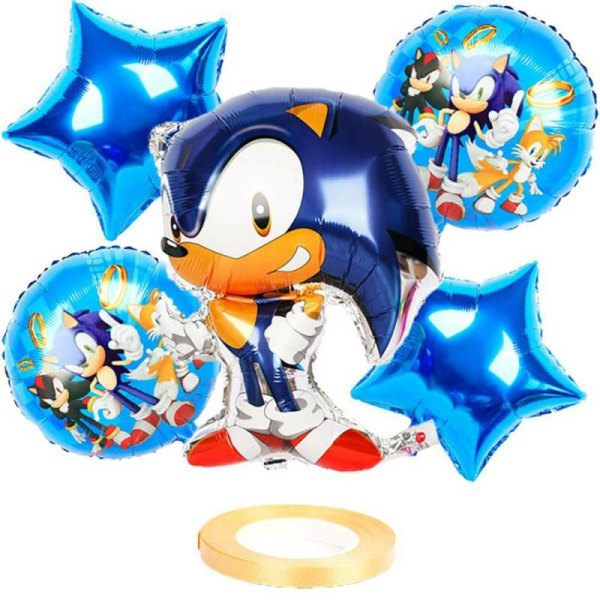 Sonic The Hedgehog Party Balloons Set Kid Birthday Cartoon Decor Blue