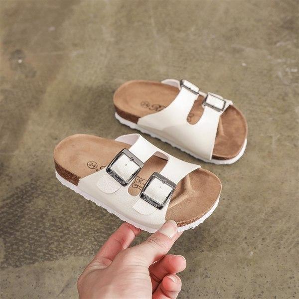 Barn Pojkar Flickor Sommar Tofflor På Stranden Casual Flip Sandaler White 39