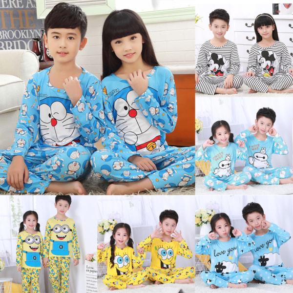 Barn tecknad rund hals långärmad sömnkläder pyjamas Set SpongeBob 4-5 years