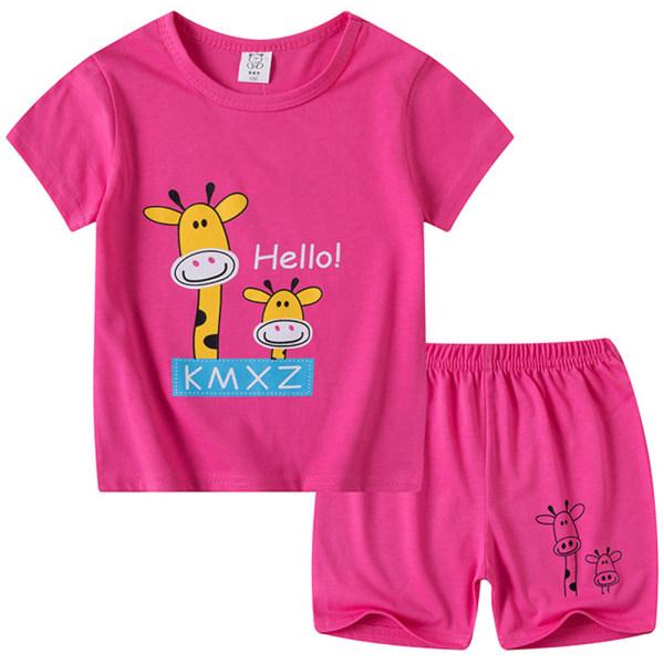 Barn Tecknad Kortärmad Casual Sport Top + Shorts Suit giraffe 100cm