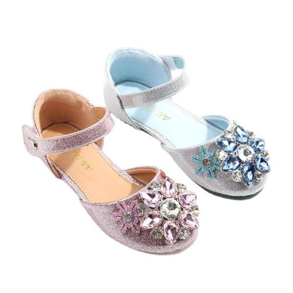 Barn Flickor Princess Aisha Casual Dress Party Crystal Shoes Silver 25