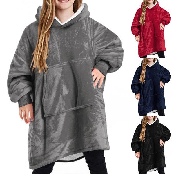 Barn Kid filt mjuk vinter överdimensionerad fleece filt Hoodie Navy Blue