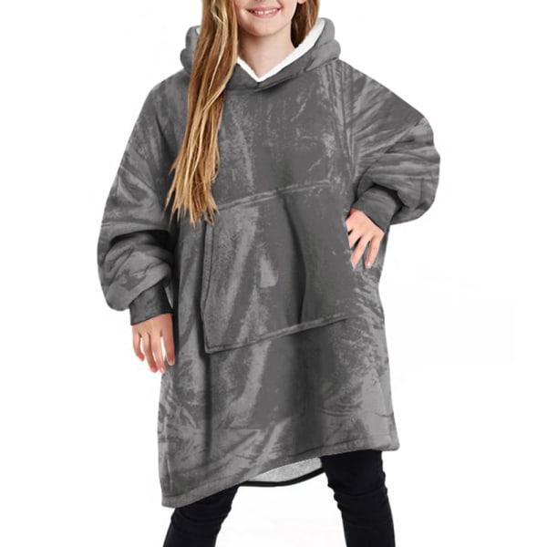 Barn Kid filt mjuk vinter överdimensionerad fleece filt Hoodie Grey