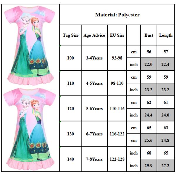 Barn Kid Girl Frozen Aisha Anna Princess Nightdress pink 100cm