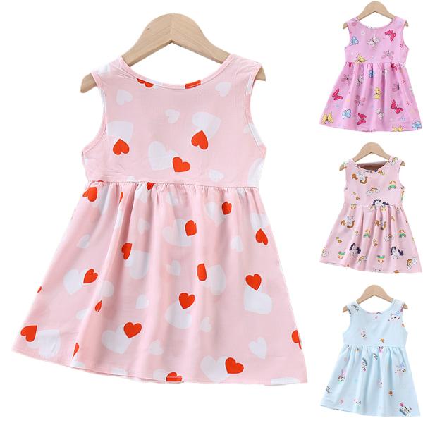 Barn Kid Girl Sommar snörning blommig kortärmad västklänning E 130cm