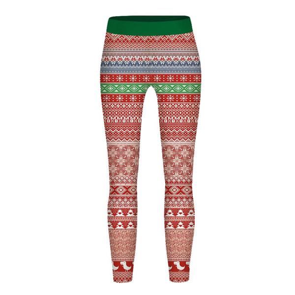 Barn Jul Jultryck Långbyxor Xmas Byxor Leggings stripe M