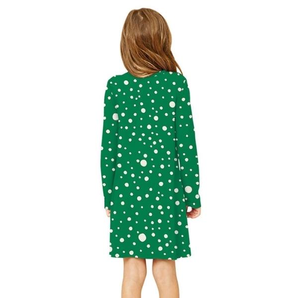 Julflicka långärmad prickiga klänning