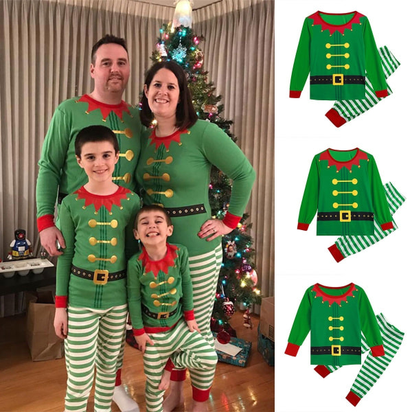 Jul randigt sött tryck föräldra-barn pyjamas green kid 120 cm