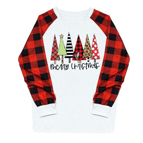 Jul Kvinnor Långärmad Plaid Tree Print Round Neck T-shirt white XL