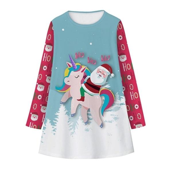 Christmas Xmas Girls Kids Dress Winter Space Unicorn Dress blue S