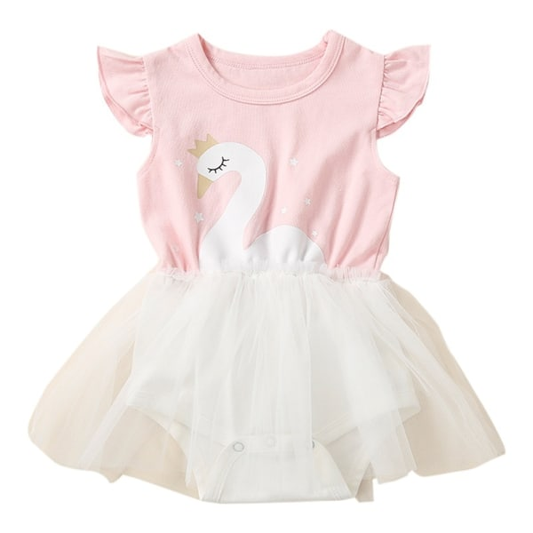 Söt baby flicka barn ärmlös svan mönster pink 90