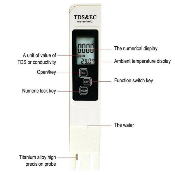 Digital Electric TDS EC PPM Tester Hydroponics Water Test Pen