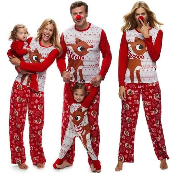 Familj jul tecknad älg tryck pyjamas kostym kvinnor män barn Women XL