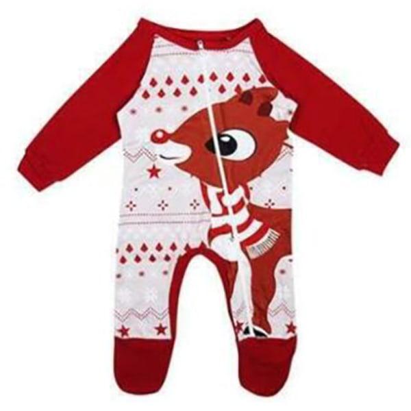 Familj jul tecknad älg tryck pyjamas kostym kvinnor män barn Baby 0-6 M