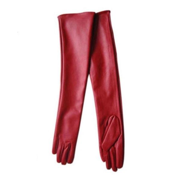 Mode Höstens populära långa läderhandskar black 50
