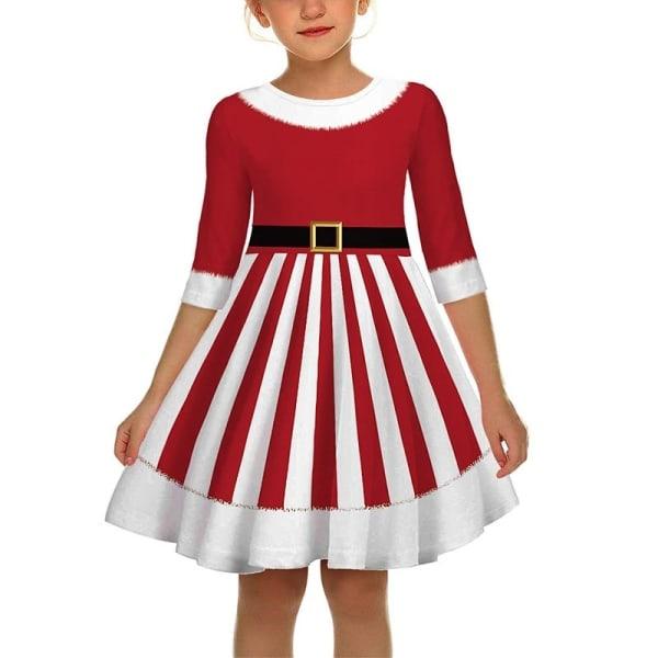 Flicka Söt Santa Claus Cosplay Dress Kid stripe S