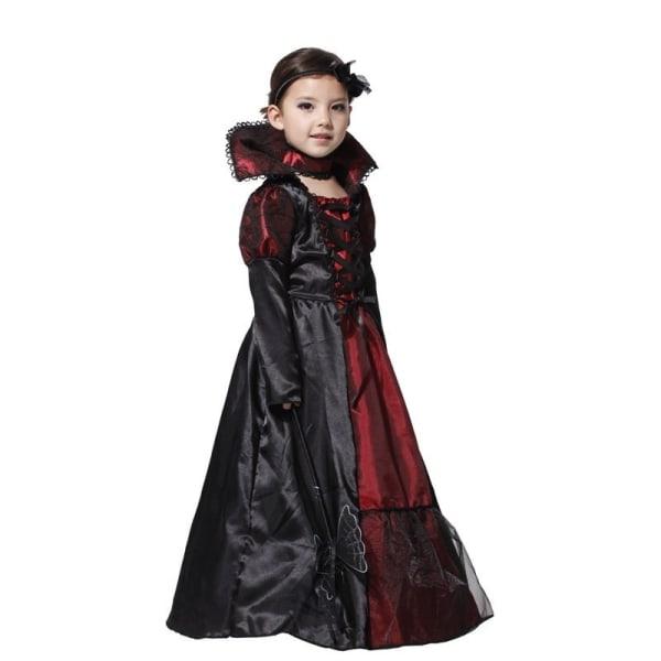 Flicka Halloween Cosplay Kostym Barn Witch Vampire black&red M